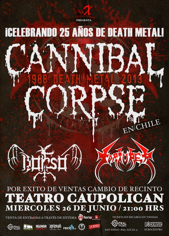 cannibal corpse en chile 2013 caupolican